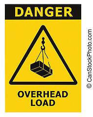 risque, signe, sur, signage, triangle, grue jaune, texte, noir, icône, grand, aérien, tomber, prudence, danger, fond, danger, isolé, avertissement, autocollant, closeup, charge, macro, cargaison