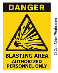risque, zone, signe, explosion, sur, signage, triangle, jaune, secteur, texte, icône, noir, grand, prudence, minage, danger, seulement, personnel, fond, danger, isolé, avertissement, autocollant, closeup, autorisé, macro