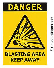 risque, zone, signe, explosion, sur, signage, triangle, jaune, secteur, texte, loin, garder, icône, noir, grand, prudence, minage, danger, fond, danger, isolé, avertissement, autocollant, closeup, macro