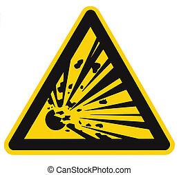 risque, zone, signe, explosion, sur, signage, triangle, jaune, seulement, secteur, icône, noir, grand, prudence, minage, danger, personnel, fond, danger, séjour, isolé, avertissement, autocollant, closeup, autorisé, loin, macro