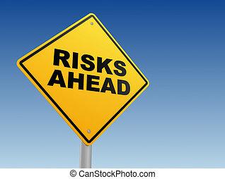 risques, devant, signe, concept, illustration