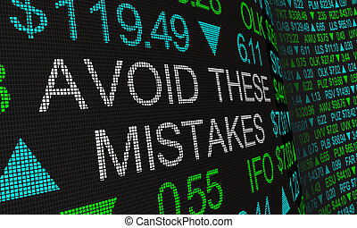 risques, erreurs, marché, investir, ceux-ci, éviter, erreurs, illustration, stockage, dangers, 3d
