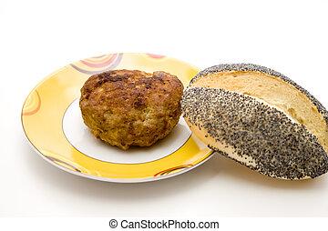 Rissole with bread roll