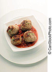 rissole with organic home made tomato sauce