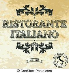 ristorante, címke, italiano