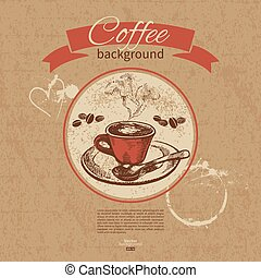 ristorante, caffè, menu, mano, fondo., caffè, vendemmia, disegnato, caffè, sbarra