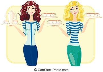 ristorante, carino, caffè, tè, illustrazione, vettore, cameriera