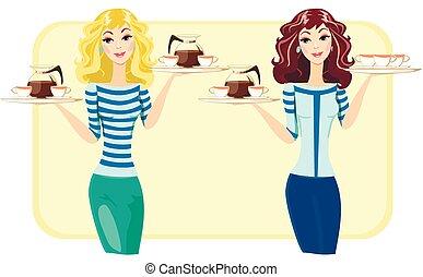 ristorante, carino, caffè, tè, vettore, cameriera