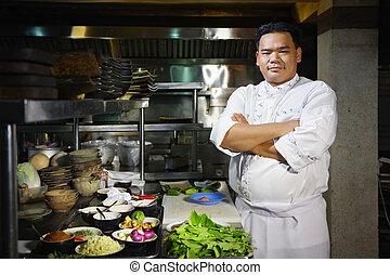 ristorante, chef, macchina fotografica, asiatico, sorridente, cucina