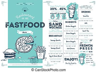 ristorante, cibo, menu, digiuno, sagoma, caffè