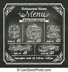 ristorante, cibo, menu, disegno, lavagna, fondo