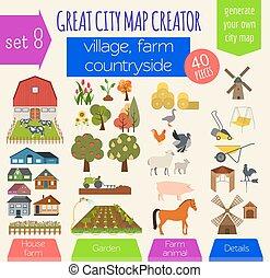 ristorante, città, grande, trasporto, infrastruttura, negozio, creator., mappa, casa, fare, countryside., casa, caffè, constructor., villaggio, perfetto, industriale, tuo