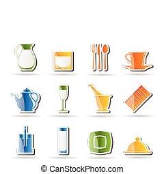 ristorante, club, caffè, sbarra, notte