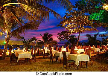 ristorante esterno, durante, tailandia, spiaggia, tramonto, phuket