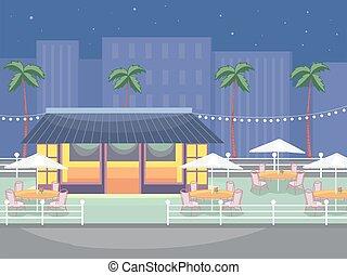 ristorante esterno, illustrazione, scena