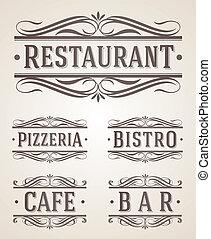 ristorante, etichette, caffè, segno