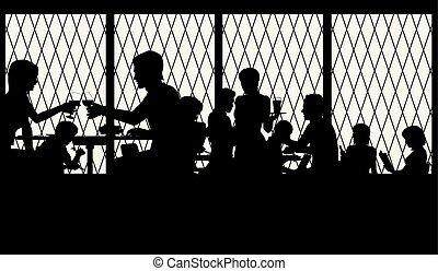ristorante, finestra