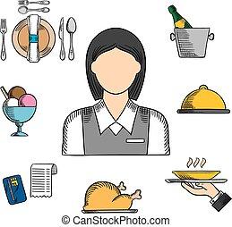 ristorante, icone, colorare, cameriera