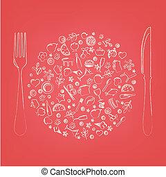 ristorante, icone, in, forma, di, sfera
