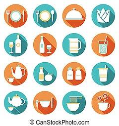 ristorante, icone, :, set, cena