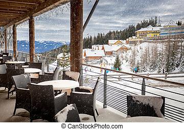 ristorante, neve, ricorso, terrazzo, coperto, sci