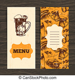 ristorante, oktoberfest, illustration., disegnato, menu, mano, fondo., birra, disegno, retro, vendemmia, caffè, bar.