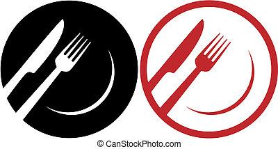 ristorante, rosso, icone