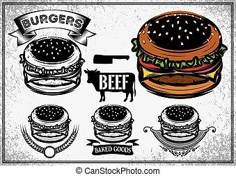 ristorante, set, hamburger, cibo, manifesto, etichette, logotype, digiuno, elementi, caffè, retro, burger., adesivi, logotipo