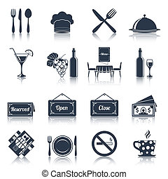 ristorante, set, nero, icone