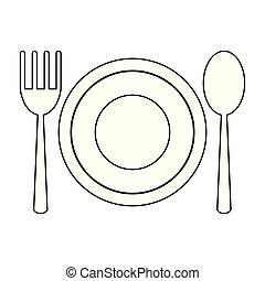 ristorante, simbolo, coltelleria, nero, piatto, pietanza, bianco