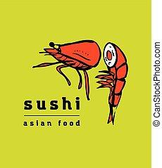ristorante, sushi, set, icone