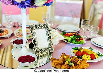 ristorante, tavola, decorato