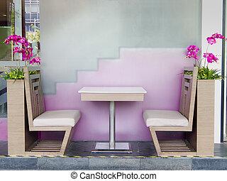 ristorante, tavola, sedia