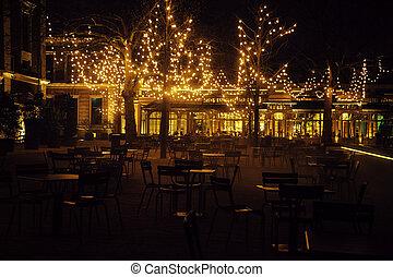 ristorante, tavoli, magia, come, noone, sedie, albero, luci, lotto, notte, fata, natale, vuoto
