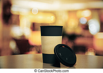 ristorante, tazza caffè, su, nero, vuoto, tavola, beffare