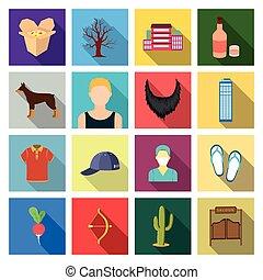 ristorante, trafficare, affari, e, altro, web, icona, in, appartamento, style.gate, turismo, ecologia, icone, in, set, collection.