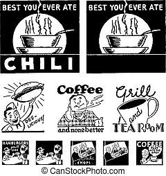 ristorante, vettore, retro, grafica