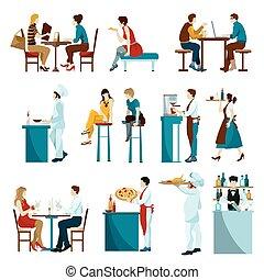 ristorante, visitatori, icone, set, appartamento