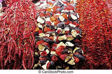 ristras, di, secco, melanzana, e, peppers.