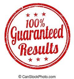risultati, 100%, segno, guaranteed, francobollo, o