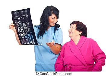 risultati, mri, buono, dottore, paziente, scansioni