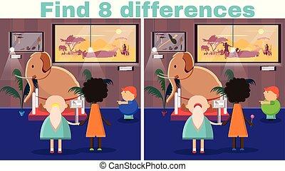 risultato, 8, differenze, cartone animato, illustrazione