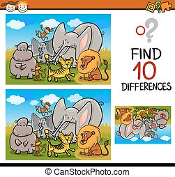 risultato, differenze, gioco, cartone animato