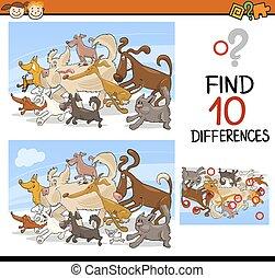 risultato, gioco, differenze, cartone animato