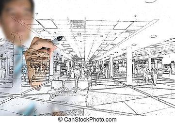 rita, affär, hand, visuell, design, inre, man