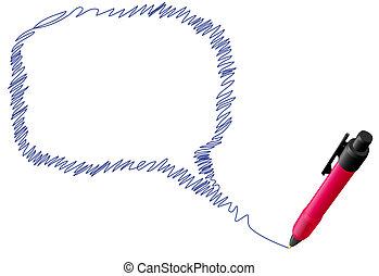 rita, bubbla, penna, anförande, bläck, klottra, prata