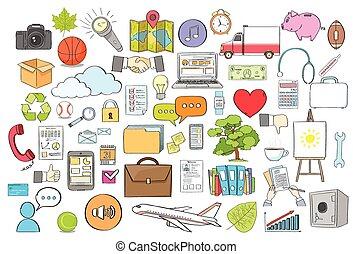 rita, sätta, färg, kollektion, hand, vektor, logo, ikon