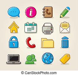 rita, sätta, media, hand, blog, vektor, social, ikon