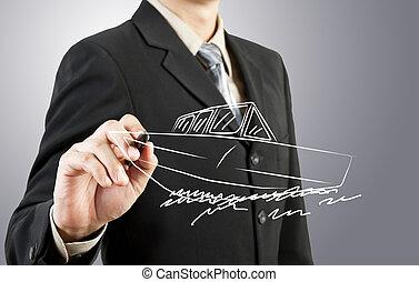 rita, transport, affär, båt, man