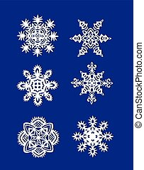 ritagliare, carta, fiocchi neve